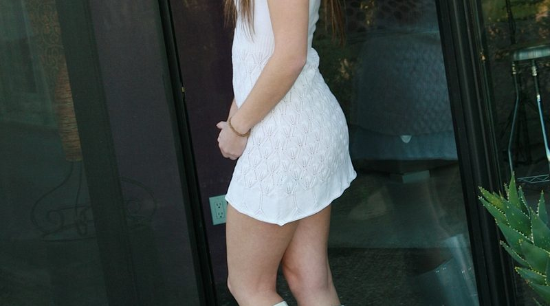 Private School Jewel in tall white boots 1