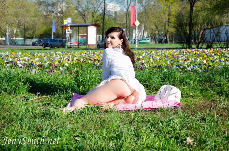 Jeny Smith White Skirt Pussy Flasher 6