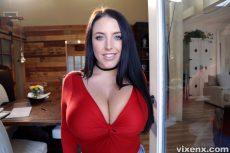 Sex addict tenant with big tits fucks landlord angela white